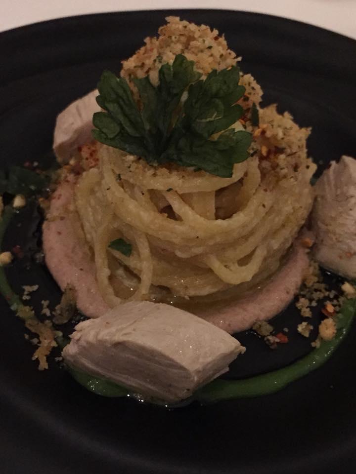 Don Alfonso 1890, aglio olio e peperoncino con sgombro in carpione