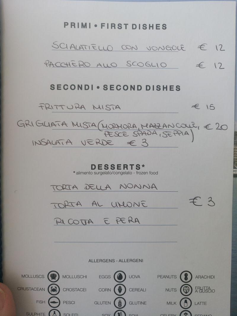 Acquamarina Miglio Zero Salerno -Porto, menu'