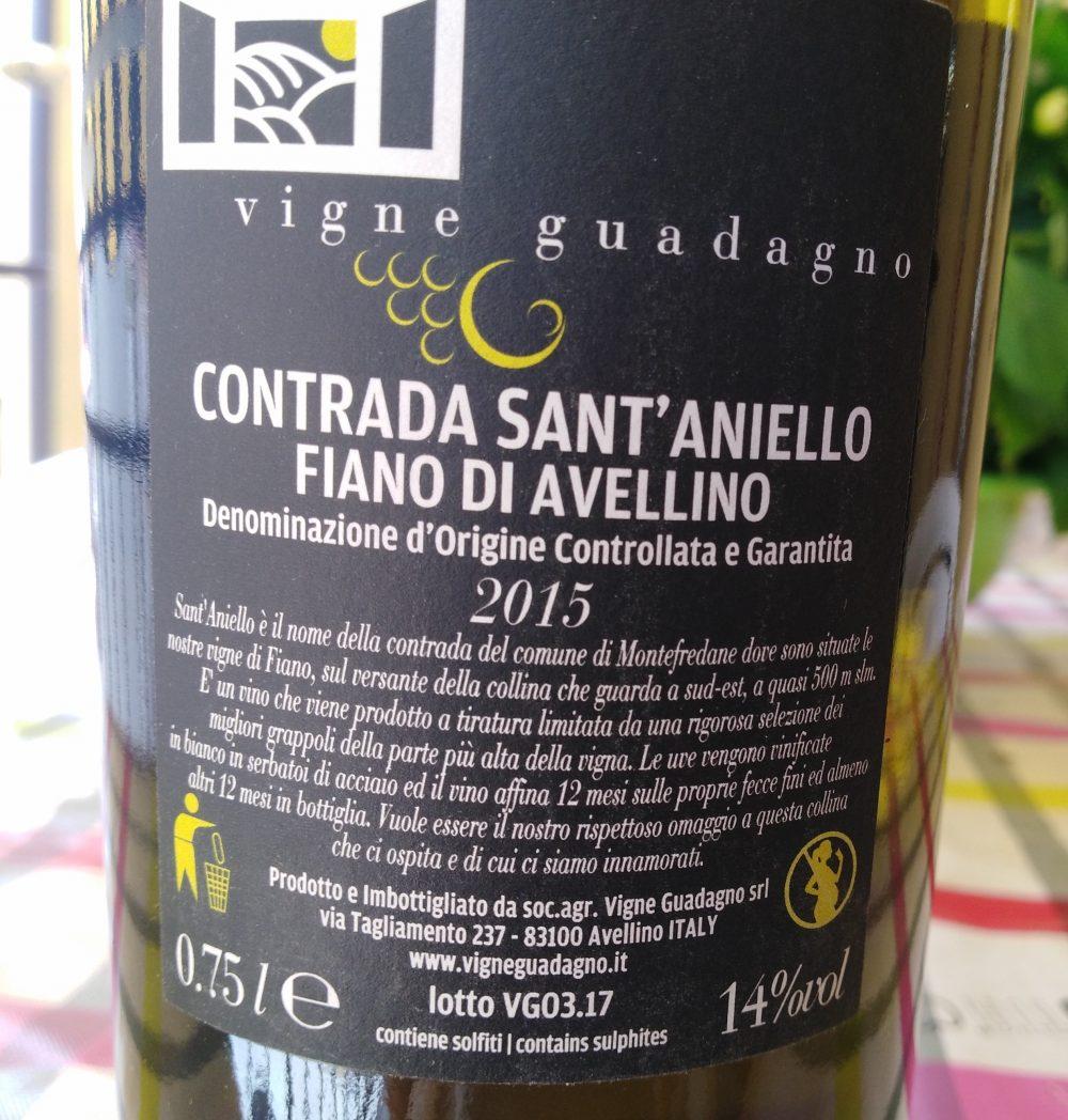 Controetichetta Contrada Sant'Aniello Fiano di Avellino Docg 2019 Vigne Guadagno