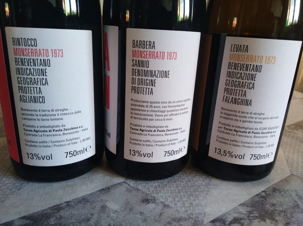 Controetichette vini Monserrato 1973