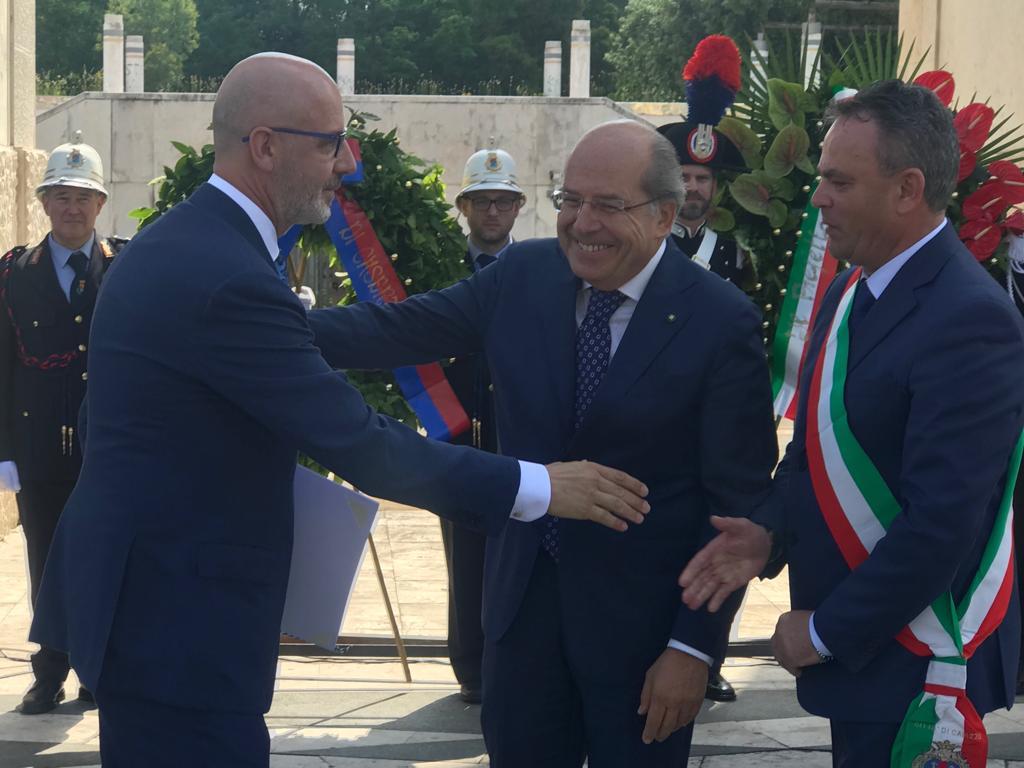 Franco Pepe durante la cerimonia del conferimento a Cavaliere al merito della Repubblica Italiana