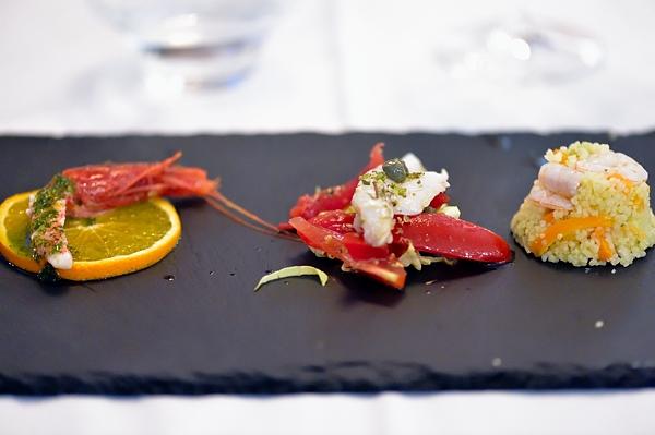 Il Pacchero Solitario - gambero rossomarinato merluzzo a vapore e pantesca couscous e crudite di gamberi
