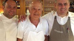 Alessandro Russo con il papa' Luciano e lo chef Salvatore Accietto
