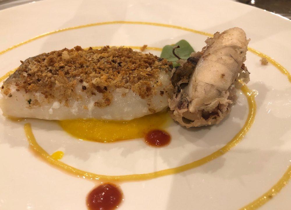 Ristorante Alessandro Feo - trancio di merluzzo gratinato con peperoni e seppioline sporche