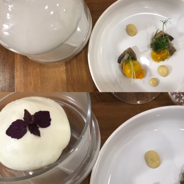 Agape Ristorante - Bufala Campana Dop dal cuore di tartare di gamberi imperiali, funghi shiitaki e composta di pomodorini gialli