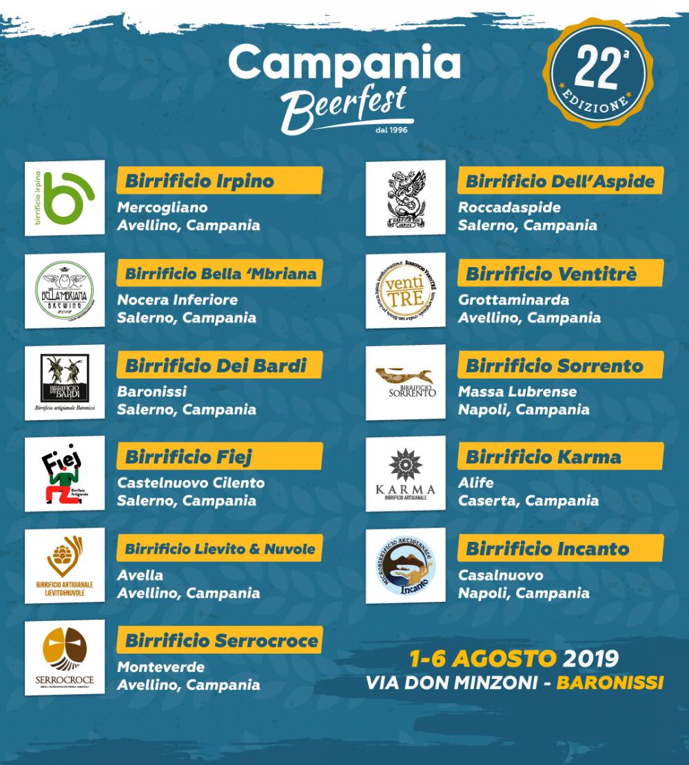 Campania Beer Fest, birrifici