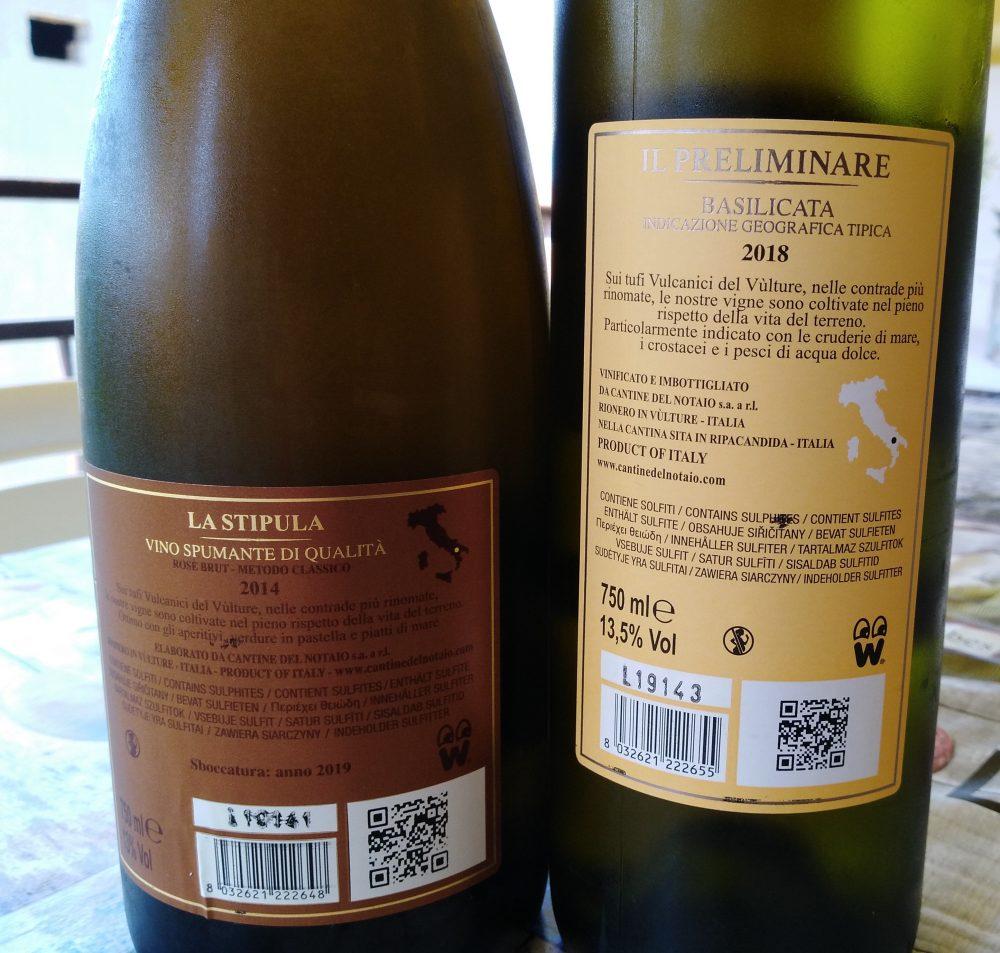 Controetichette vini Cantine del Notaio