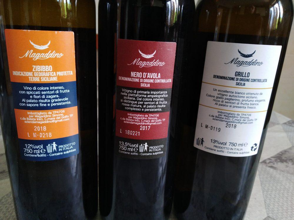 Controetichette vini di Magaddino