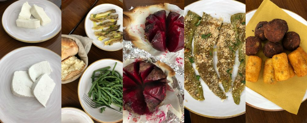 Roots, antipasti ricotta e primo sale, fagiolini, melanzane al forno con menta, puccia, barbabietola al forno, paparussi, crocchette di patate e melanzane