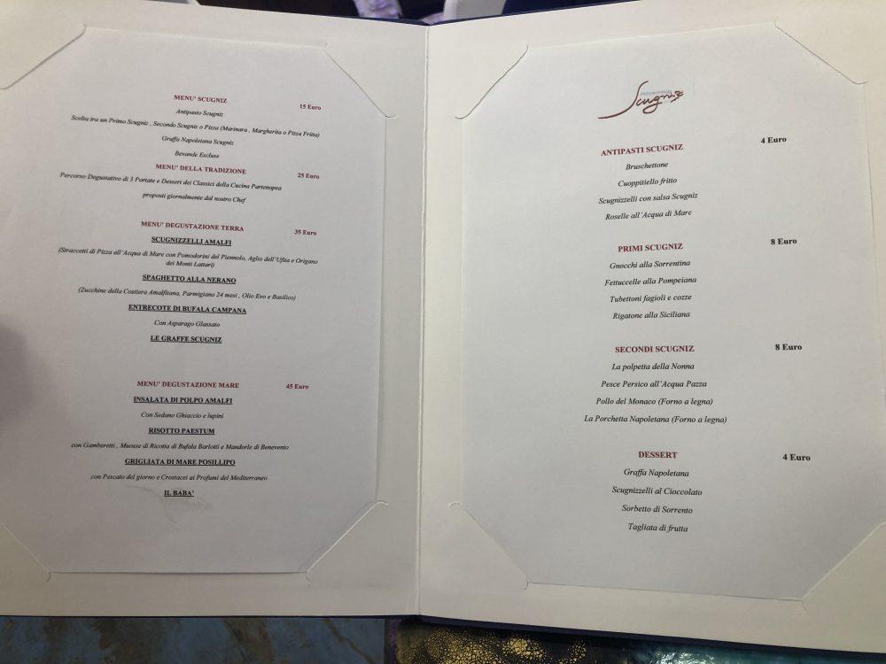 Scugniz - il menu