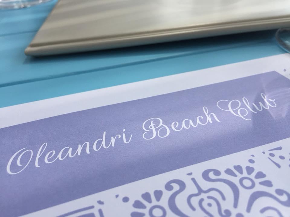 Oleandri Beach Club, la tovaglietta