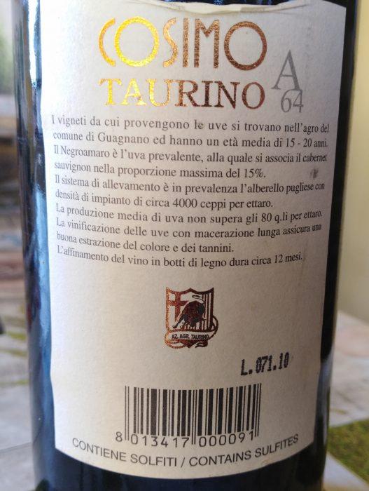 Controetichetta A 64 Cosimo Taurino Salento Rosso Igt 2204