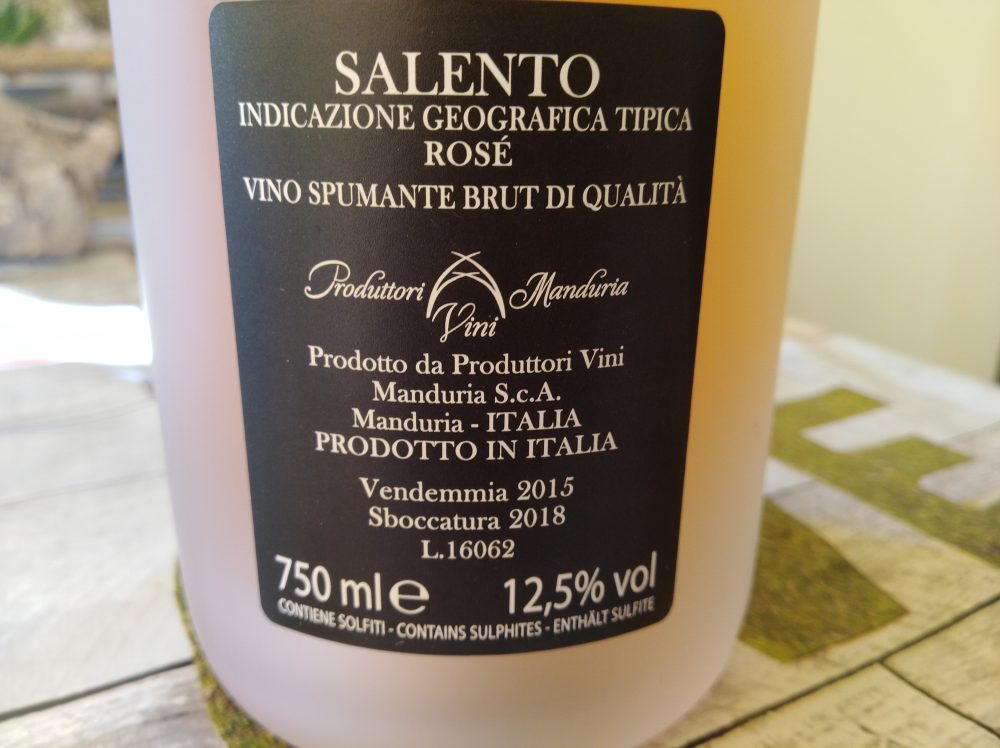 Controetichetta Leggiadro Spumante Rose' Brut Salento Igt Metodo Classico Produttori di Manduria