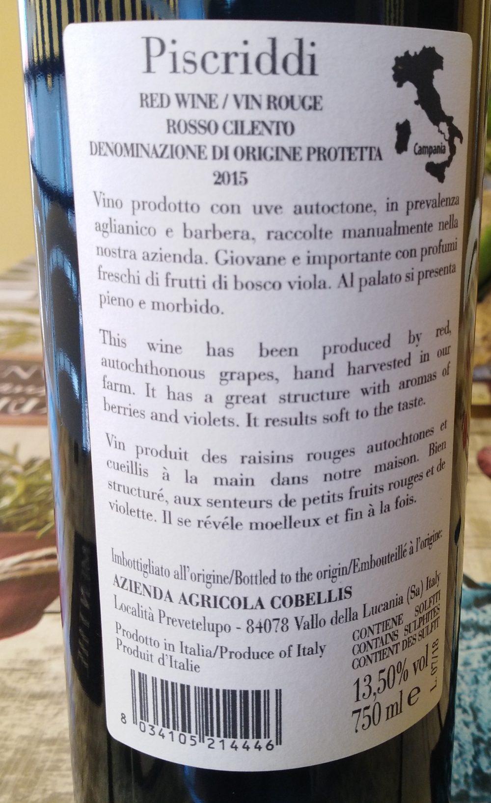 Controetichetta Piscriddi Rosso Cilento Dop 2015 Cobellis