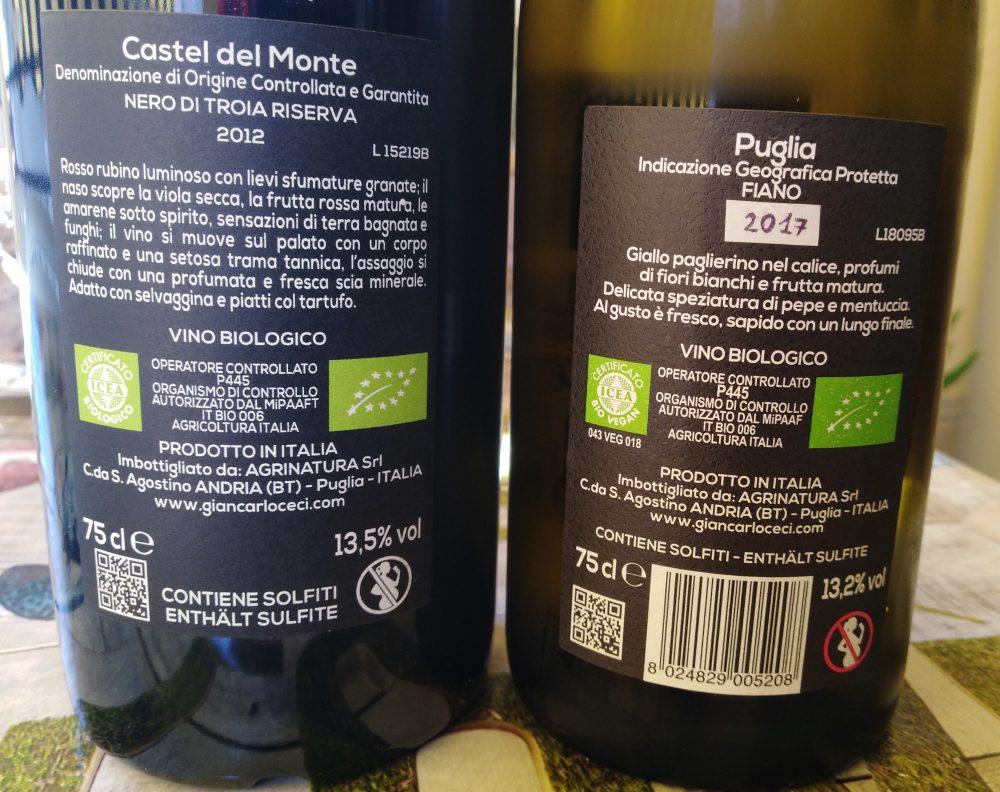 Controetichette vini di Giancarlo Ceci vincitori a Radici del Sud 2019