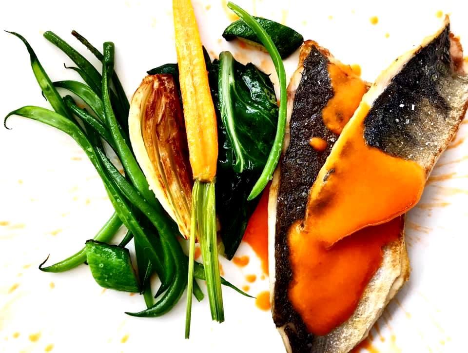 Pesce Stella, Verdure cotte a carbone e Gazpacho