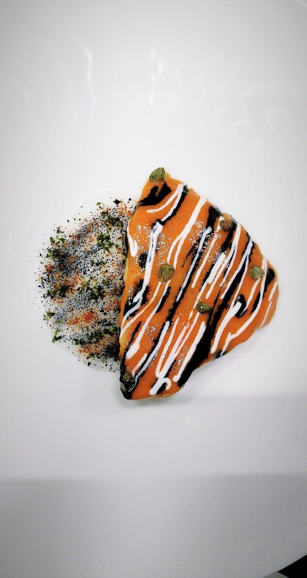 Gioja - Rombo alla Diavola - daikon peperoni e nero di seppia