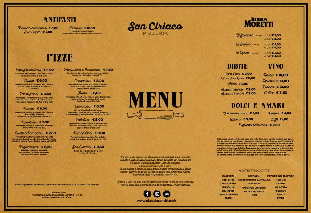 Pizzeria San Ciriaco, menu