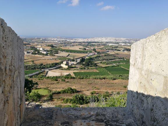 Sguardo sulle vigne dall'antica città di Mdina