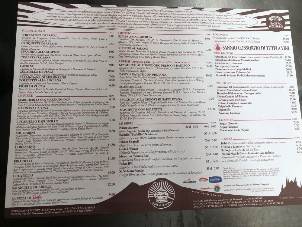 Olio a crudo, menu'