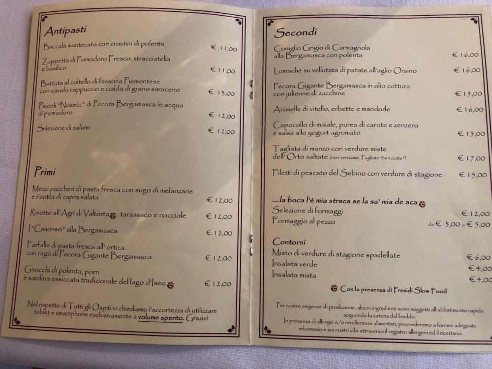 Osteria Al GiGianca, carta delle vivande