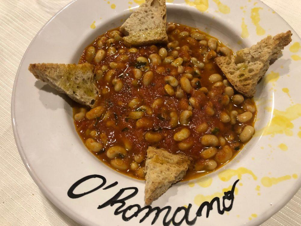 Trattoria O'Romano - fagioli al sugo preparato con i pomodori San Marzano