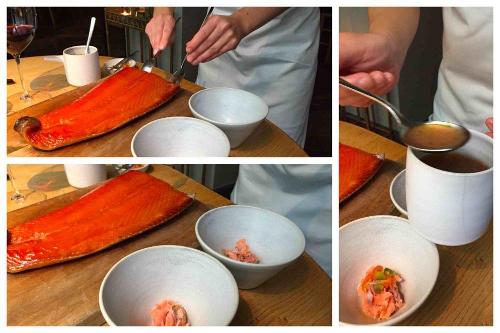 Kadeau, salmone e pomodoro. Il servizio