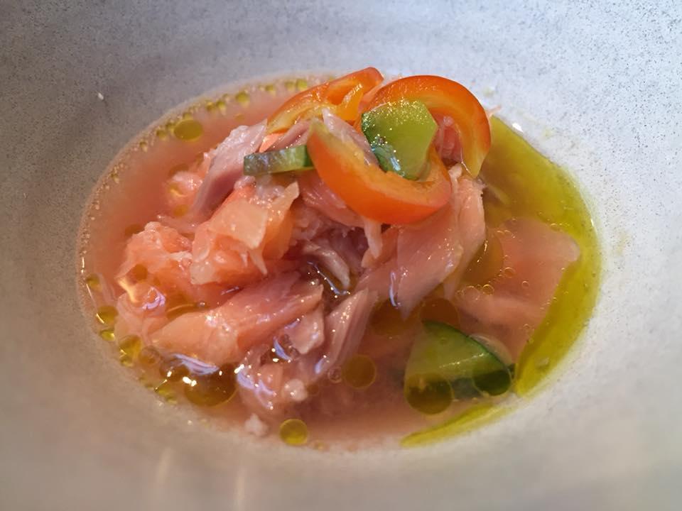 Kadeau, salmone e pomodoro