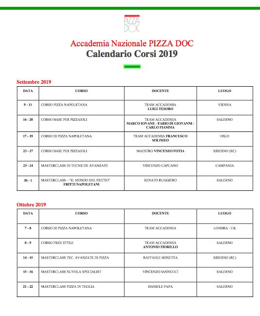 Calendario 2019 - Accademia Nazionale Pizza Doc