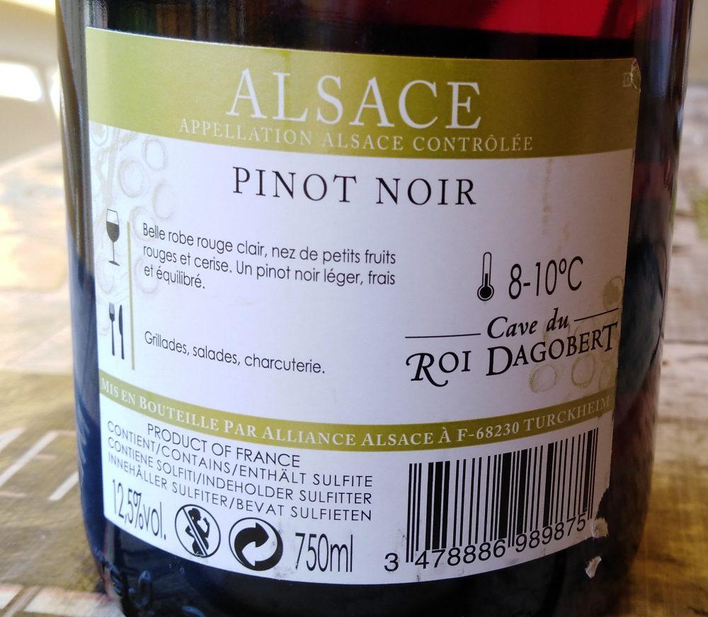 Controetichetta Pinot Noir Alsace AAC Tradition 2016 Cave du Roi Dagobert