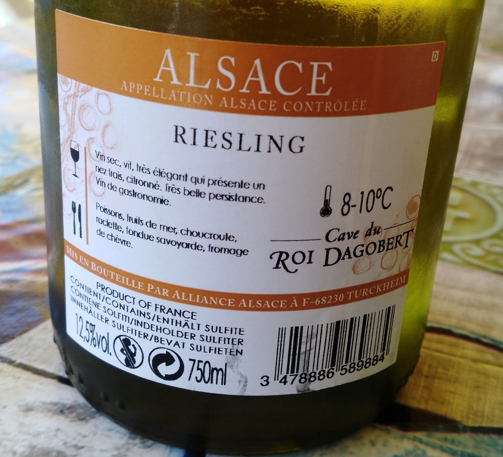 Controetichetta Riesling Selection Alsace AAC 2017 Dagobert