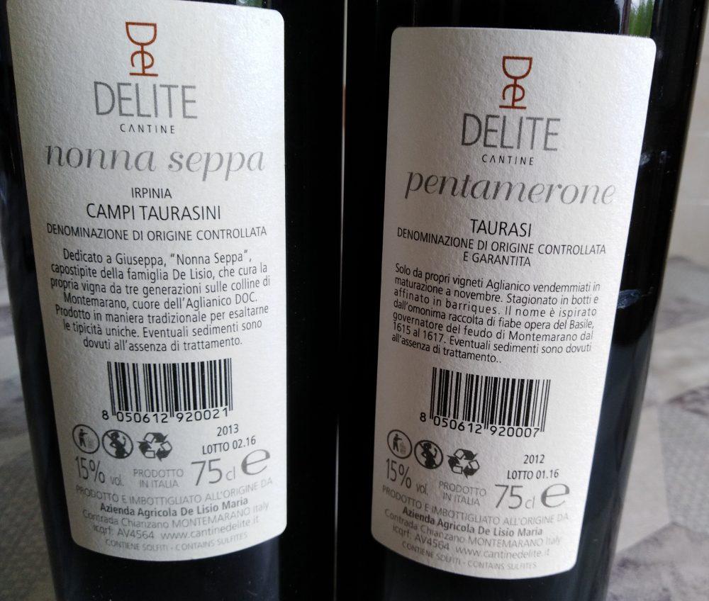 Controetichette vini Cantine Delite