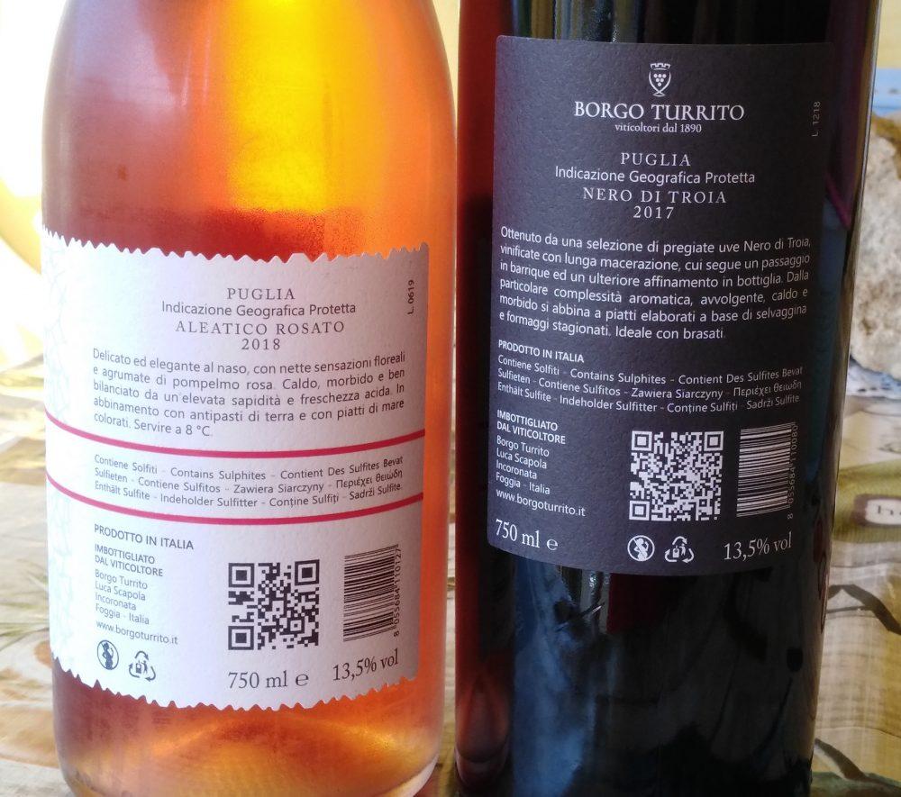 Controetichette vini di Borgo Turrito
