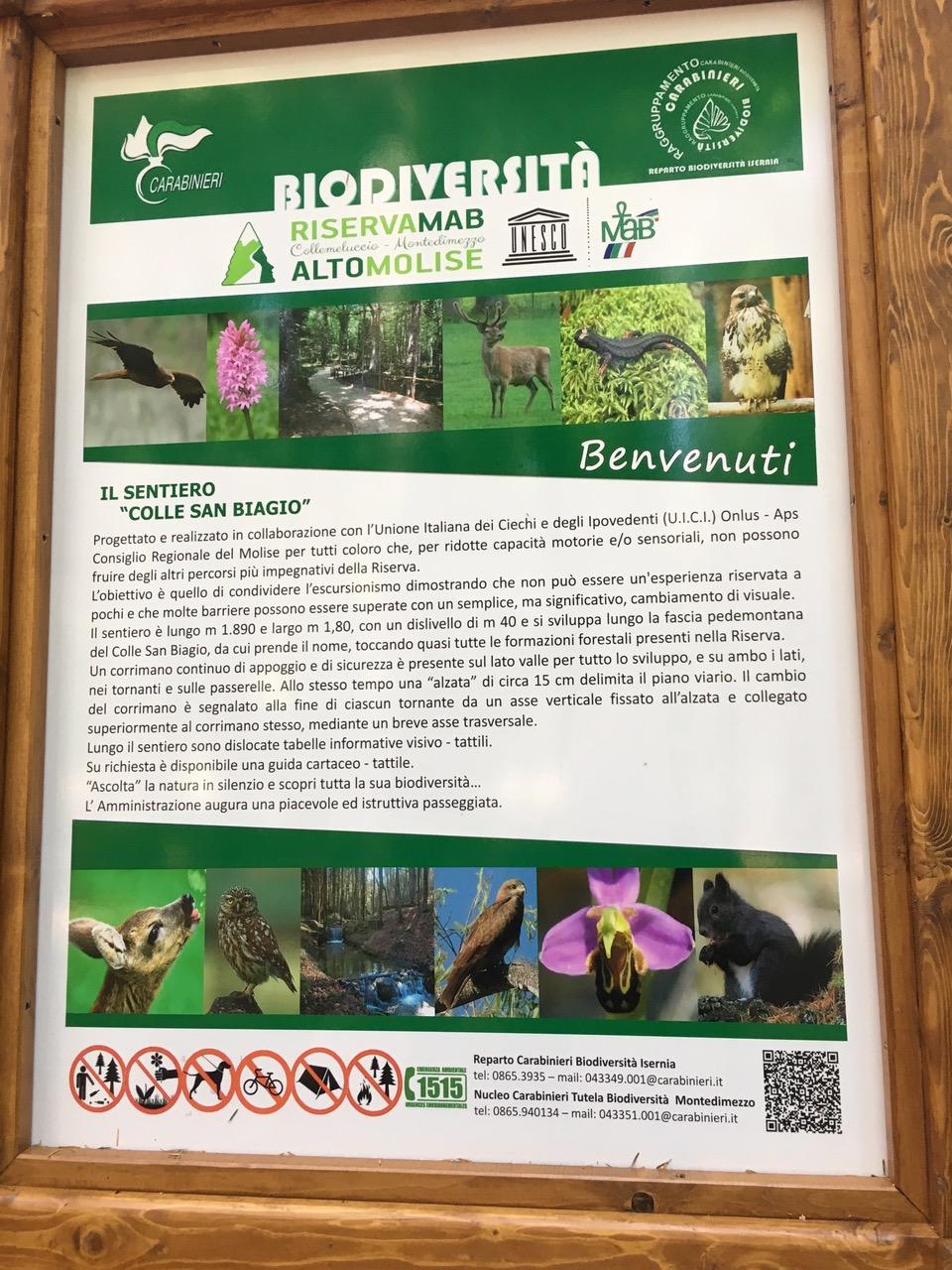 Molise - Cartello di presentazione della riserva