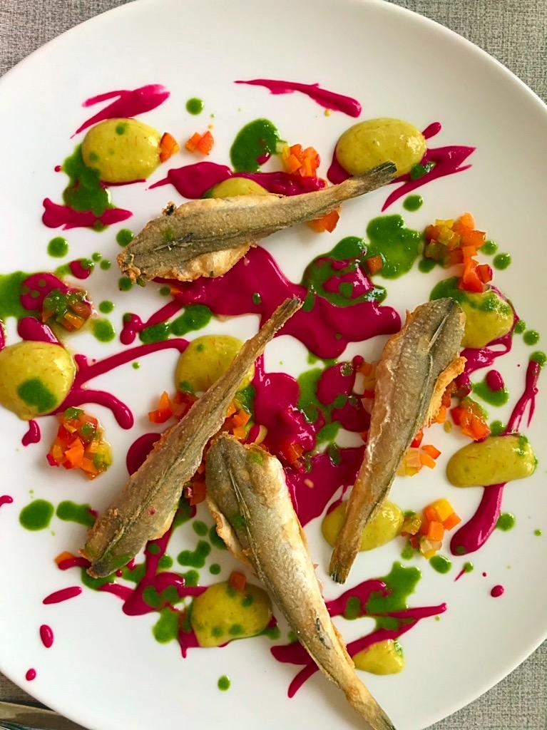 Ristorante RuRu' - Merluzzo fritto, rapa rossa e verdure in agrodolce