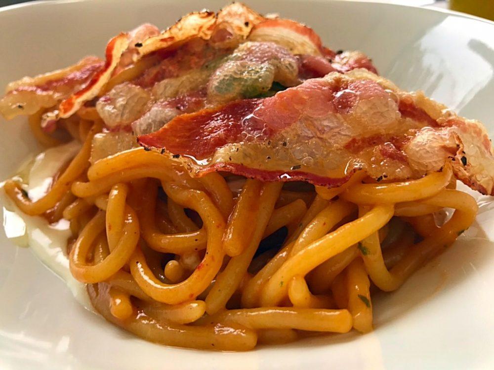 Ristorante RuRu' - Spaghettoni, bisquit di gberi, fondita di mozzarella e gianciale