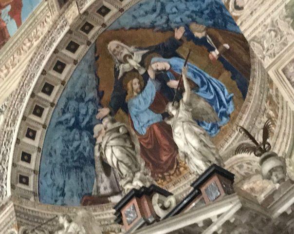 Certosa, dettagli, l'azzurro della veste della Madonna