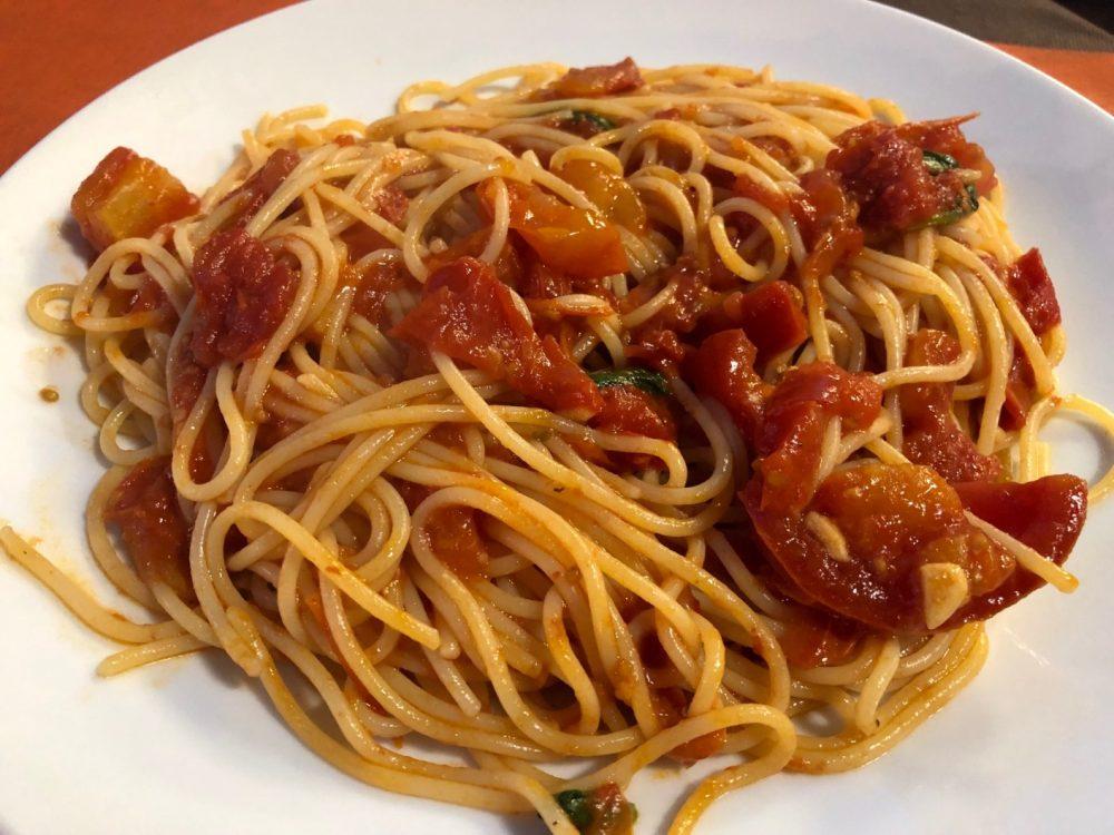 Dei Mille, Riccione, spaghetti al pomodoro