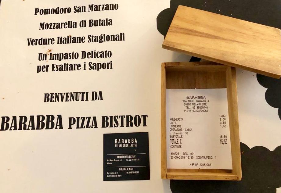 Pizzeria Barabba, il conto