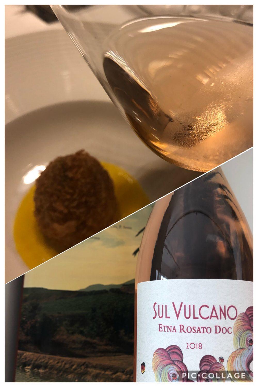 Sul Vulcano Etna Rosato DOC proposto con arancinetto allo stracotto con fonduta di zafferano - chef Giovanni Santoro Shalai Resort