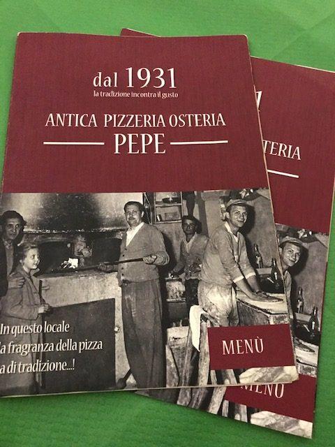 Antica Pizzeria Osteria Pepe - menu'