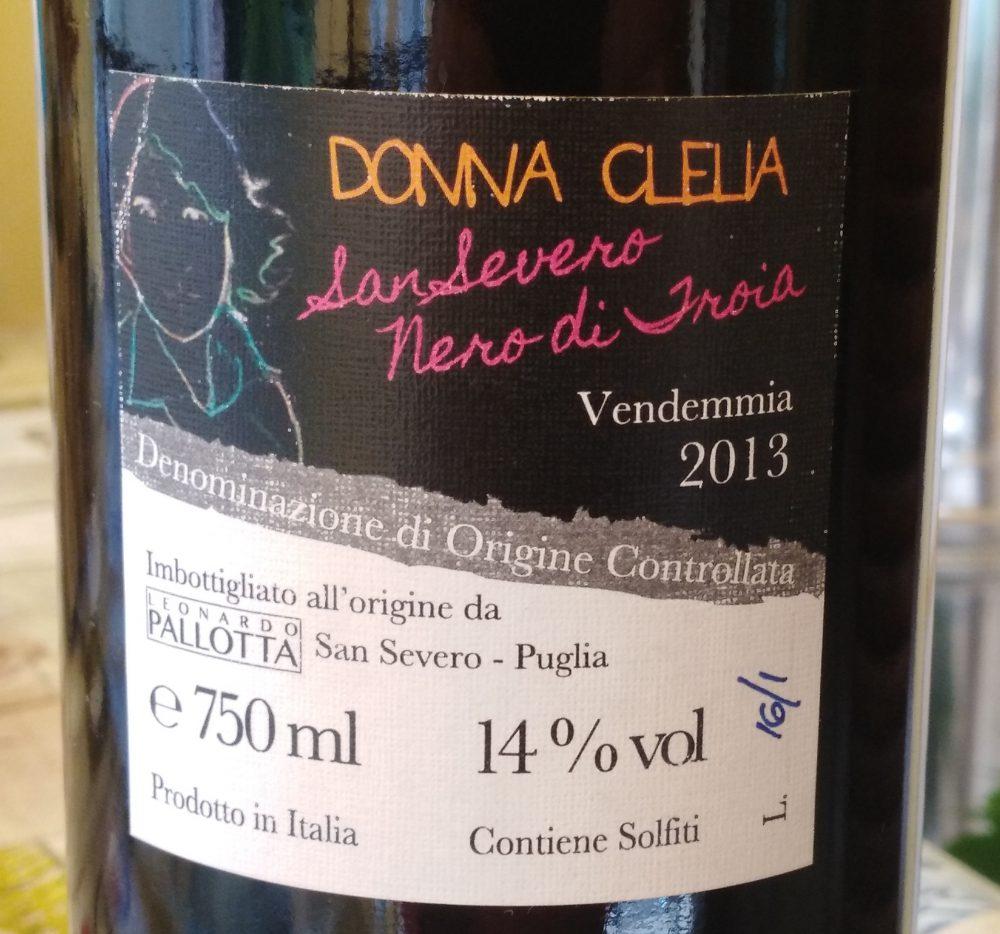 Controetichetta Donna Clelia Nero di Troia San Severo Doc 2013 Pallotta
