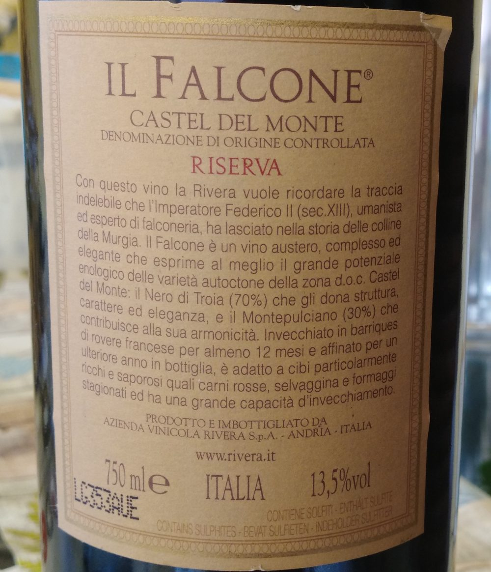 Controetichetta Il Falcone Castel del Monte Doc Riserva 2004 Rivera