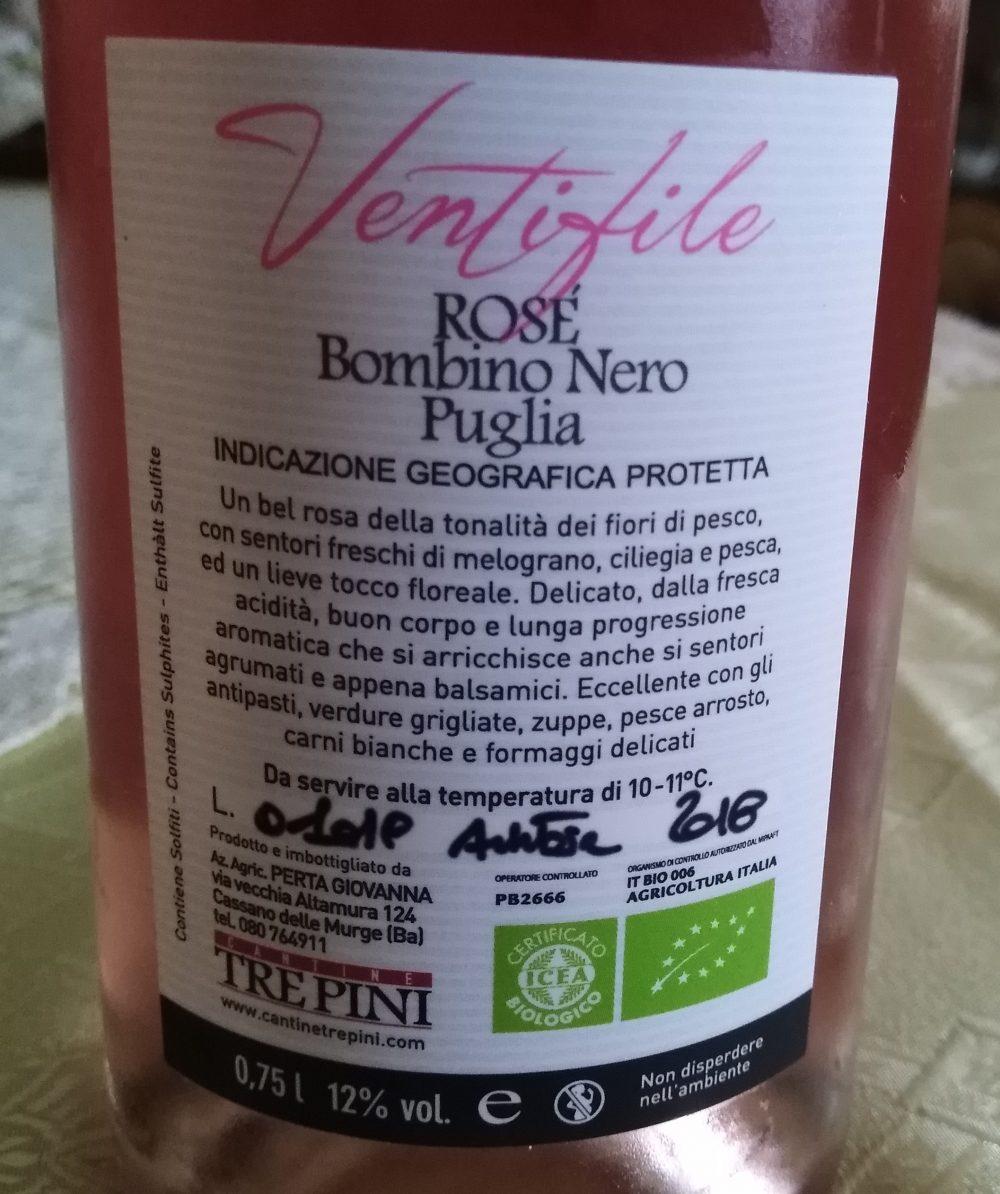 Controetichetta Ventifile Rose' Bombino Nero Puglia Igp 2018 Tre Pini