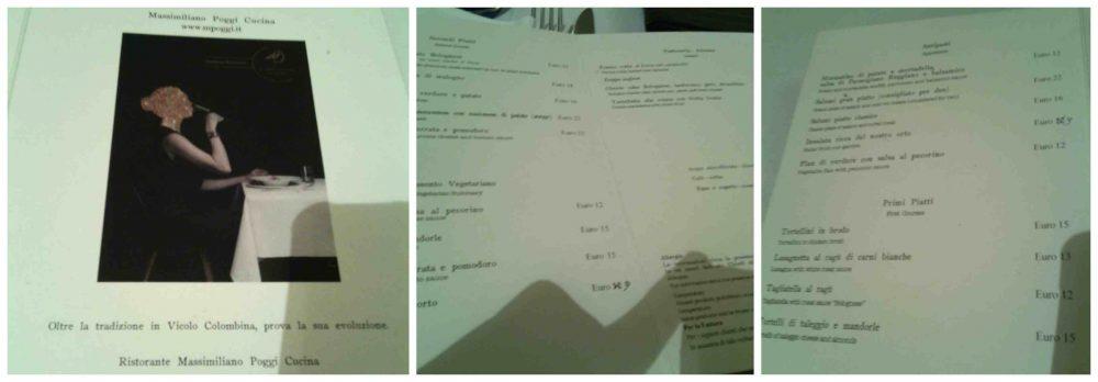 Vicolo Colombina, menu'