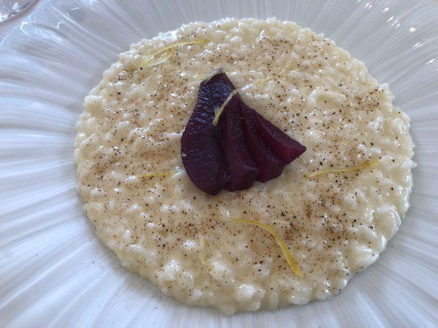 La Piazzetta, Montevecchia, risotto cacio e pepe con pere al vino rosso e limone candito