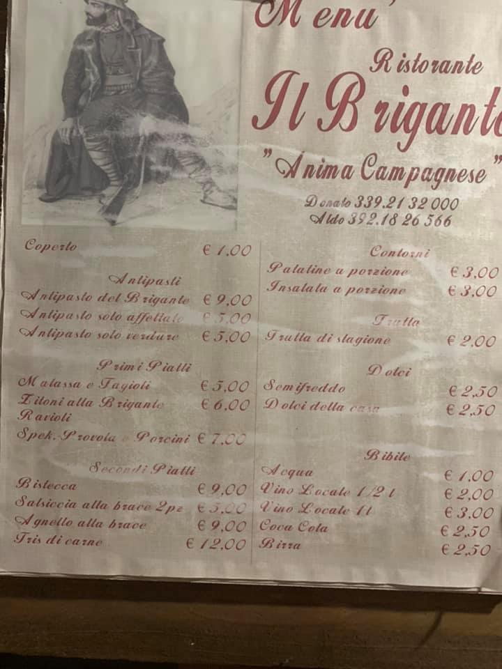 Il brigante - - menu'