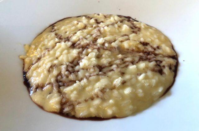 Trattoria Visconti, Ambivere, risotto con stracchino all'antica e riduzione di Moscato di Scanzo
