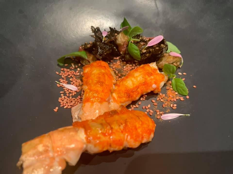 Grand Hotel Parker's - Via di scampo - Scampi del Mar Tirreno arrosto, cavolo torzella con colatura di alici di Cetara, umeboshi e consomme' di verza