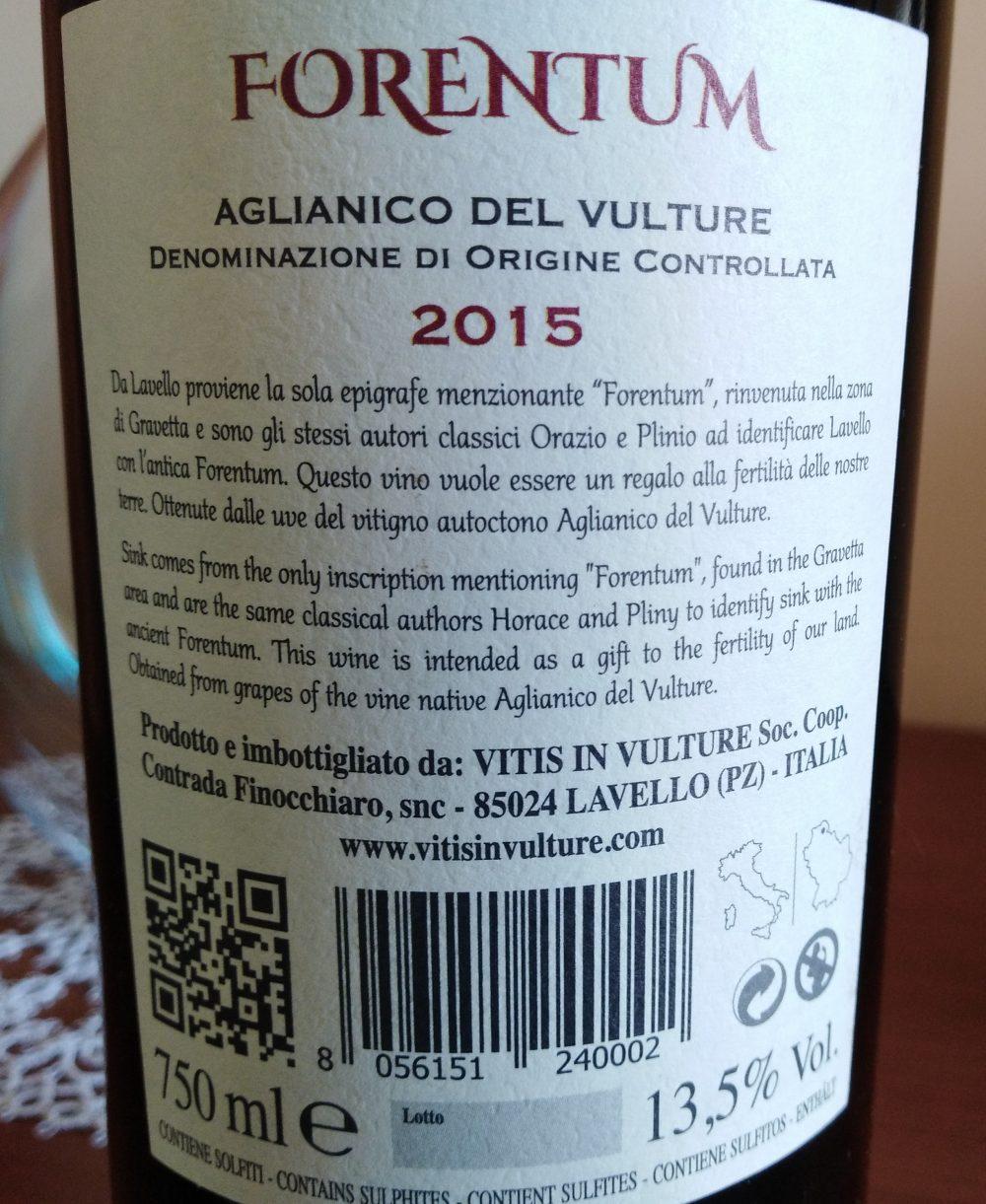 Controetichetta Forentum Aglianico del Vulture Doc 2015 Vitis in Vulture